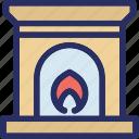 chimney, fireplace, flue, furnace, interior icon