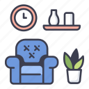 apartment, design, furniture, home, living, room, sofa icon