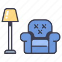 furniture, home, interior, lamp, living, room, sofa icon