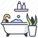 architecture, bath, bathroom, bathtub, house, interior, room icon
