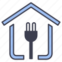 building, electric, energy, house, indoors, interior, room icon