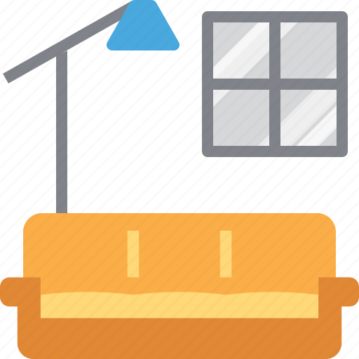 couch, furniture, interior, lamp, living, sofa, window icon