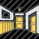 corridor, hall, hallway, interior design icon