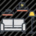 room, interior, interior design, lamp, living room, sofa, studio icon