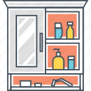 cabinet, bathroom shelf, furniture, mirror, shelf, wall cabinet