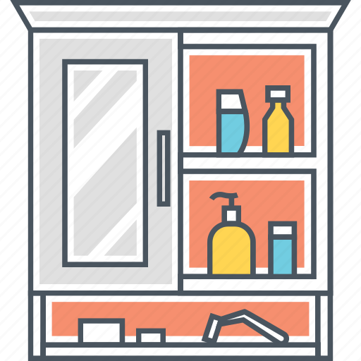 bathroom shelf, cabinet, furniture, mirror, shelf, wall cabinet icon
