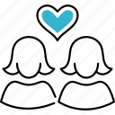 heart, love, person, woman, lesbians icon