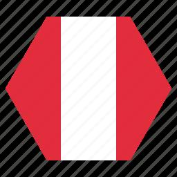 country, flag, national, peru, peruvian icon