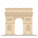arc de triomphe, france, landmark, monument, paris, triumphal arch icon