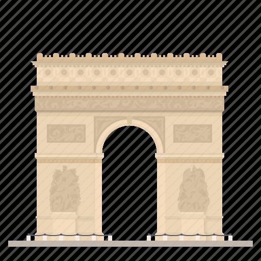 arc de triomphe, france, landmark, monument, paris, triumphal arch icon