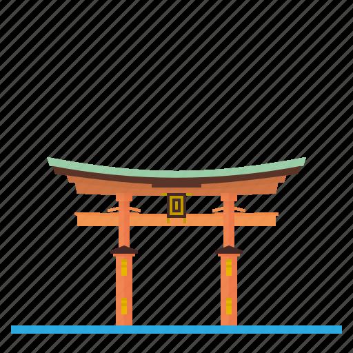 Gate, itsukushima, japan, landmark, shrine, temple, torii icon - Download on Iconfinder