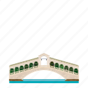 bridge, building, grand canal, italy, landmark, rialto bridge, venice icon
