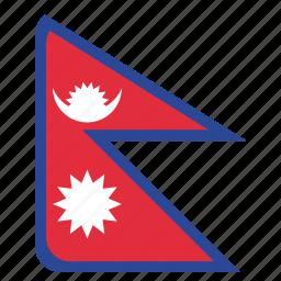 country, flag, national, nepal, nepali icon