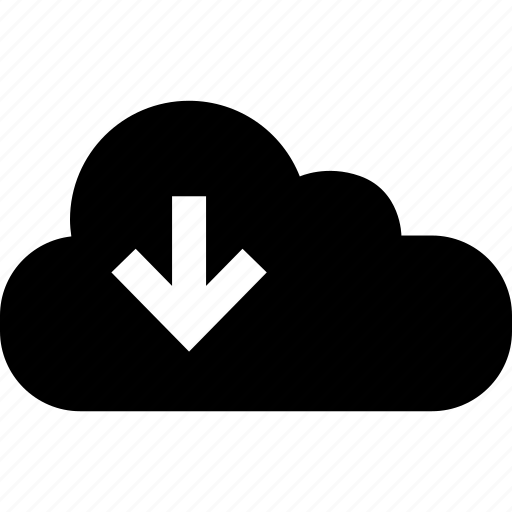 arrow, cloud, down, internet, online, web icon