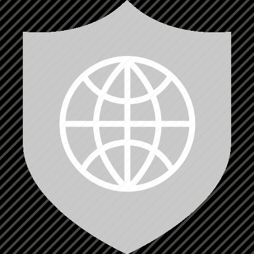 globe, internet, online, shield, web, world icon