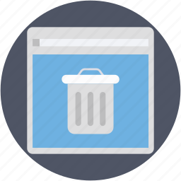 deleted files, dustbin, junk files, web page, website icon