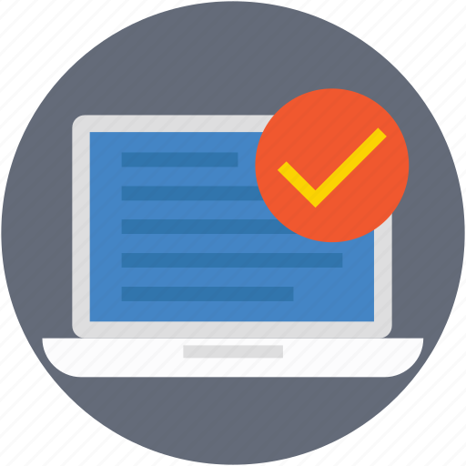 checkmark, laptop, macbook, task complete, tick icon