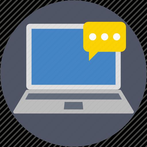 chatting, communication, laptop, speech bubble, talking icon