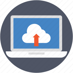 cloud transfer, cloud upload, data transmission, laptop, uploading icon