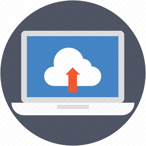cloud transfer, cloud upload, data transmission, laptop, uploading icon