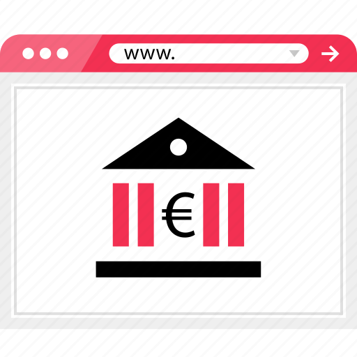 bank, banking, euro, money, online, sign, web icon