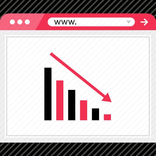 arrow, bars, data, down, graph, low, report icon