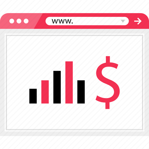 bars, browser, data, dollar, graph, report, sign icon