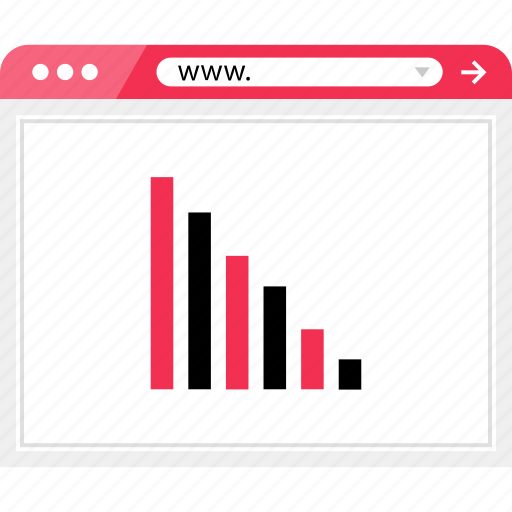 bars, browser, data, down, graph, online, report icon