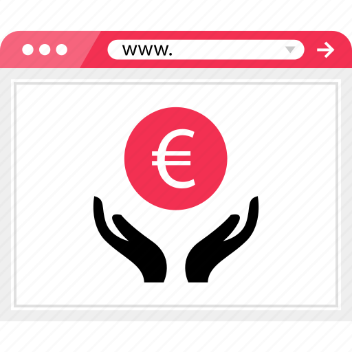 browser, euro, hands, internet, money, sign, web icon