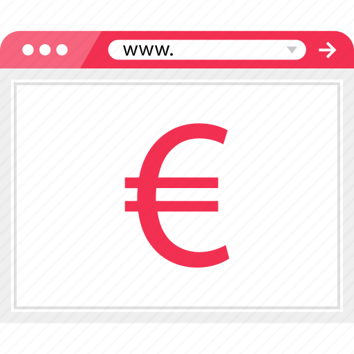 browser, euro, money, online, pay, payment, sign icon
