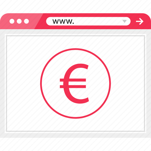euro, money, online, pay, payment, sign, web icon