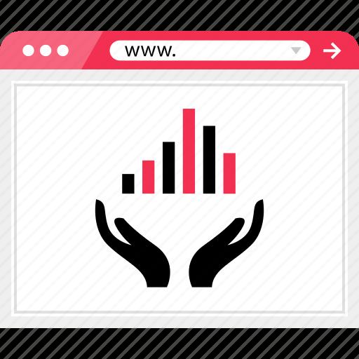bars, data, graph, hand, hands, report, web icon