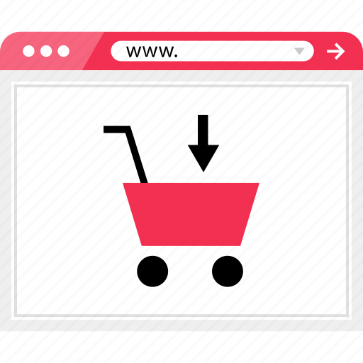 add, arrow, browser, cart, down, shop, shopping icon