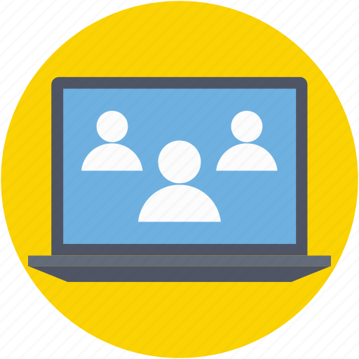 communication, discussion, group, laptop, users icon