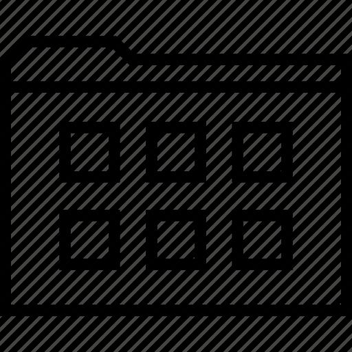 archive, folder, grid, six icon