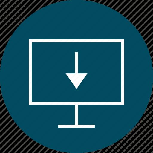 arrow, down, download, monitor icon
