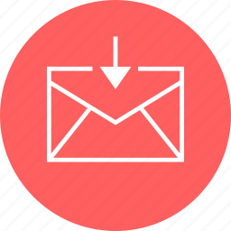 arrow, attachement, down, download, email icon