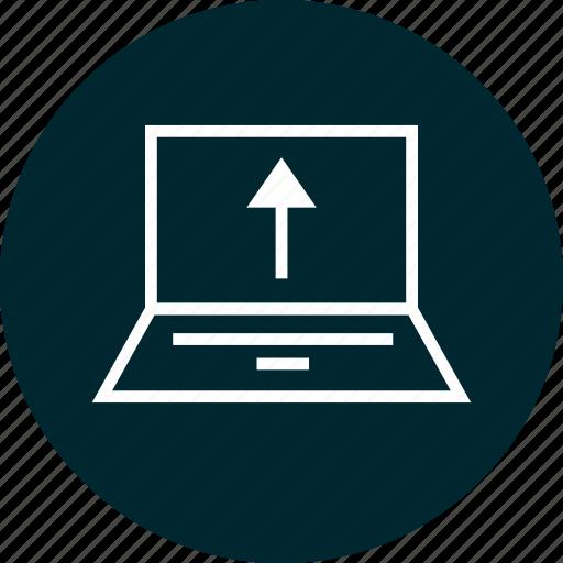 activity, computer, up, upload icon