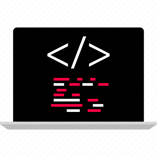 back, code, laptop icon