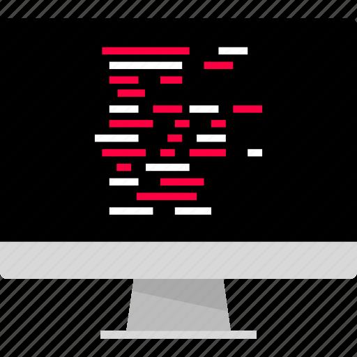 back, code, computer, monitor icon