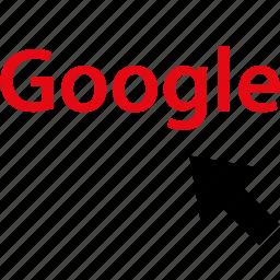 arrow, click, google, internet, online, web icon