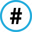 hashtag, pound, sign icon