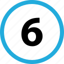 count, number, six icon