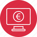 coin, computer, monitor icon