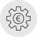 euro, gear, options, work icon