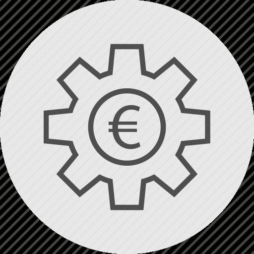 euro, gear, options, work icon
