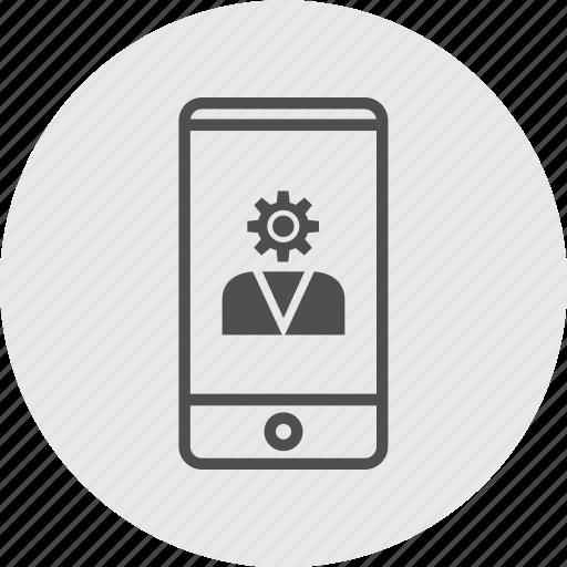 cell, gear, head, phone icon