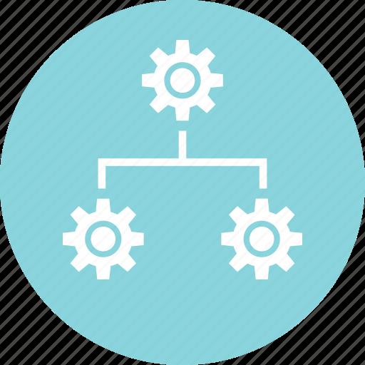 data, gear, team, working icon