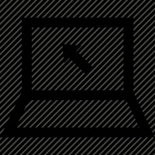 arrow, click, laptop, online icon