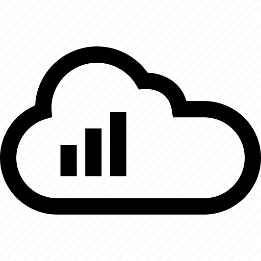 bars, cloud, data icon